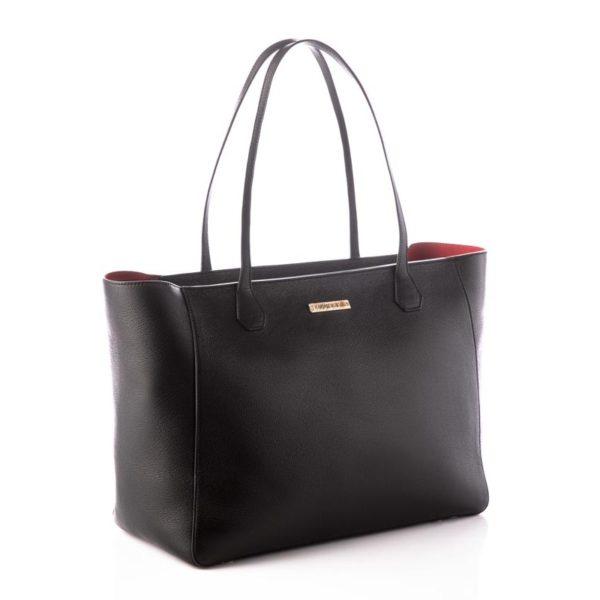 Cokkodrilla Shopping Sofia pelle nera e fodera rossa esterno