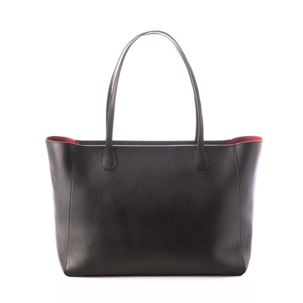 Cokkodrilla Shopping Sofia pelle nera e fodera rossa retro