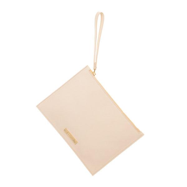 Cokkodrilla chutch bag dafne pelle latte macchiato fronte