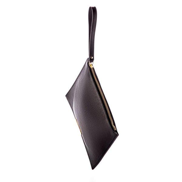 Cokkodrilla chutch bag dafne pelle nera esterno