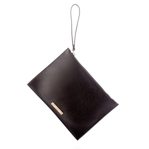 Cokkodrilla chutch bag dafne pelle nera fronte